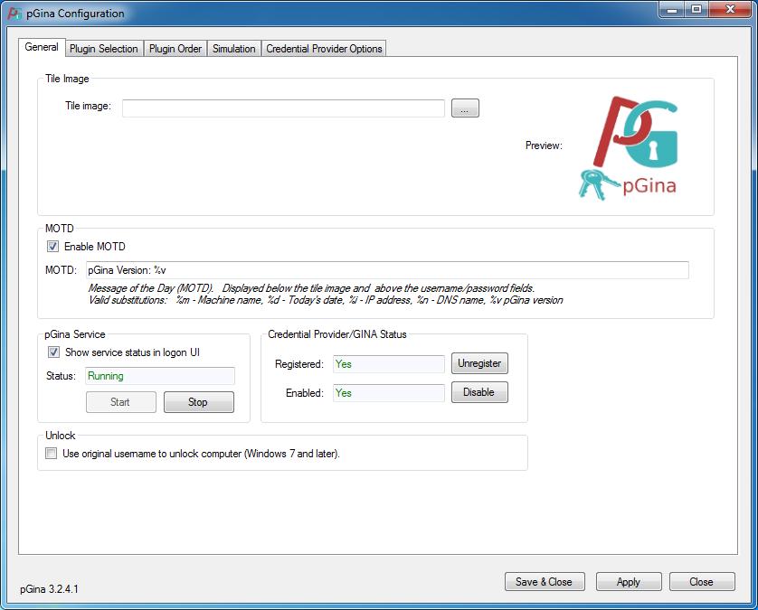pGina Configuration Tool
