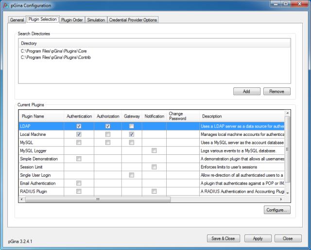 Enabling Plugins in pGina